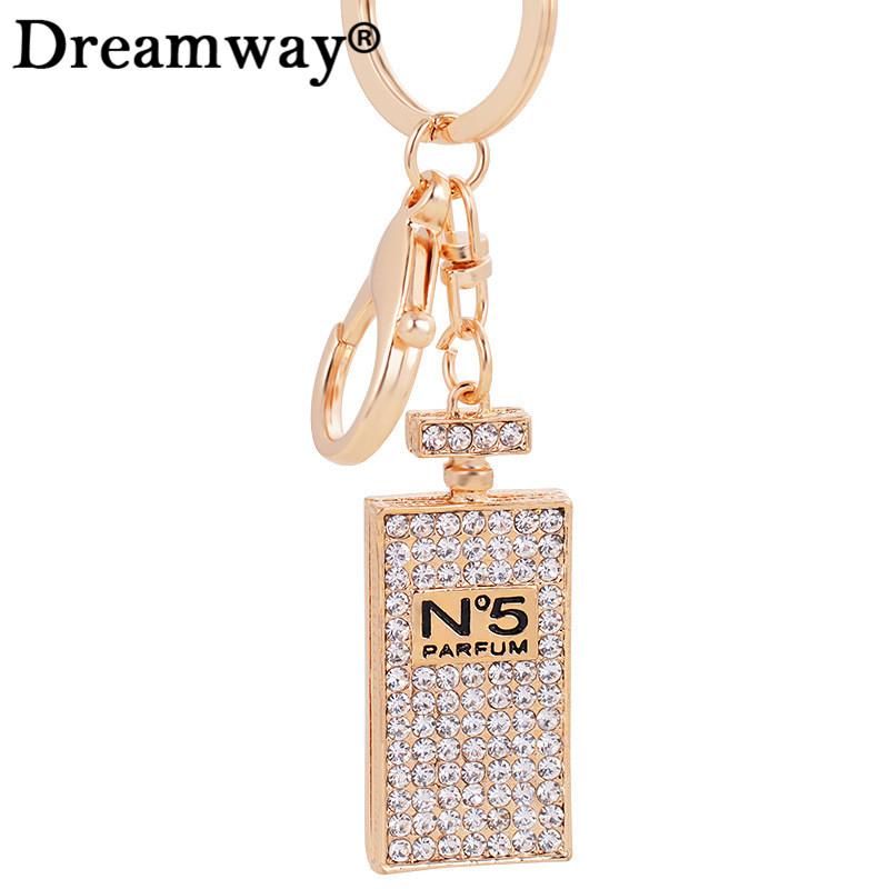 Long design crystal perfume bottle key ring fashionrhinestone keychain best birthday gift lady bag pendant hanger Dreamway(China (Mainland))