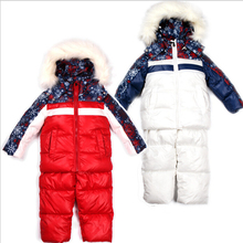 winter ski suits Boys and girls children's clothing set Nagymaros collar suit outdoor parkas hoody and pants winter outwear(China (Mainland))