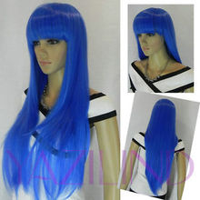 Long Straight Full Bangs Loli Lolita Party Hair Cosplay Anime Wig sky blue Ladies Heat Re sistant Synthetic hair Wigs - meiyan gan's store