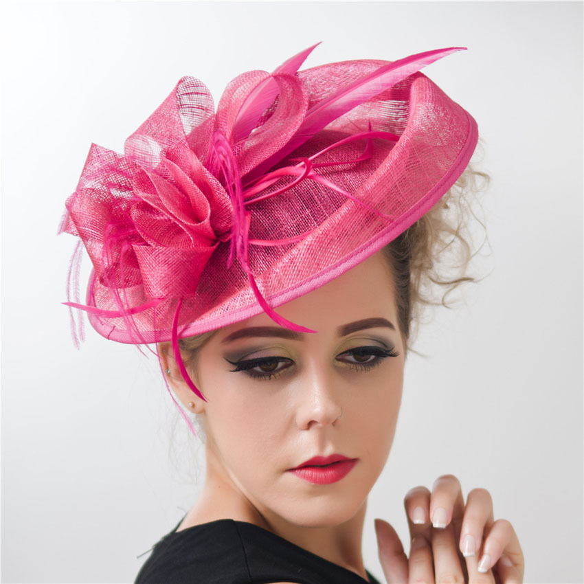 Ladies large Feather Sinamay Hats fascinators Women Vintage Hair Accessories with Clip Headband for Wedding Party Races C12391(China (Mainland))
