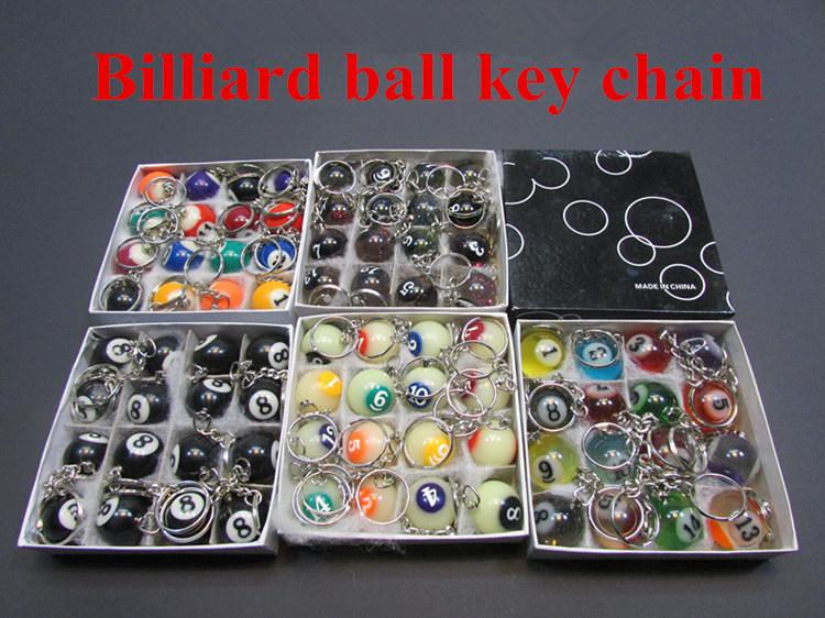 Free shipping billiards pendant keychain 16 color black 8 luminous crystal ornament mini ball snooker jewelry(China (Mainland))