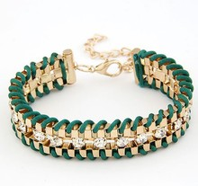 New fashion jewelry rhinestone chain link rope Weave charm bracelet gift for women ladies(China (Mainland))