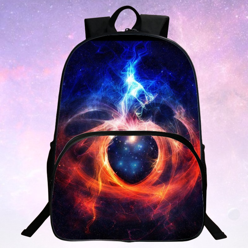 Beauty 2016 Polyester 100% Printing Starry Sky Black Men School Bag Girls Mochila Kids School Backpacks For Teenagers