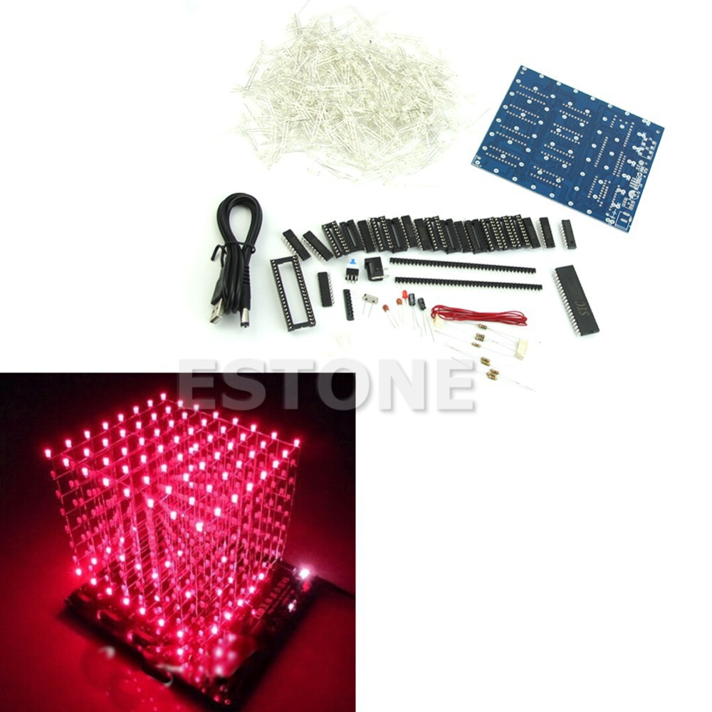 Best Selling 8x8x8 3D LED LightSquared LED Cube White LED Red Ray DIY New Kit(China (Mainland))