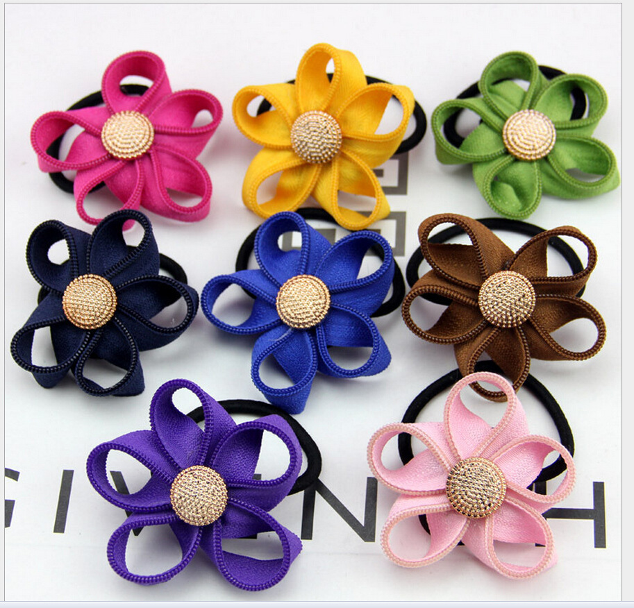 1 2015 new style Zipper flower hair band 11 colors gold butten elastic clip Mixed sales couple's gift - Women and Children's Paradise store