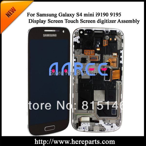 Free shipping Original For Samsung Galaxy S4 mini i9190 i9195 LCD Touch Screen Digitizer Assembly with frame- Blue(China (Mainland))