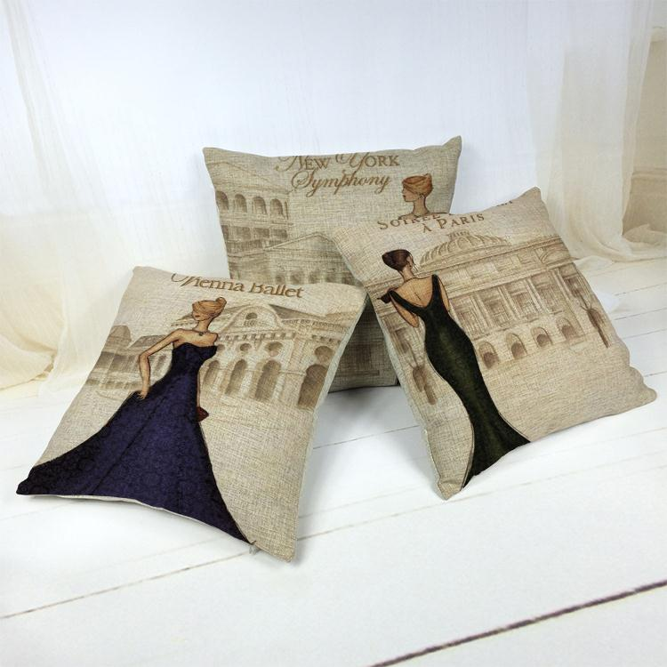 Hot Sale Thick and Thin Cotton Linen Decor Pillow New Home Fashion Gift 45cm Women wear evening gowns Rural Office Sofa Cushion