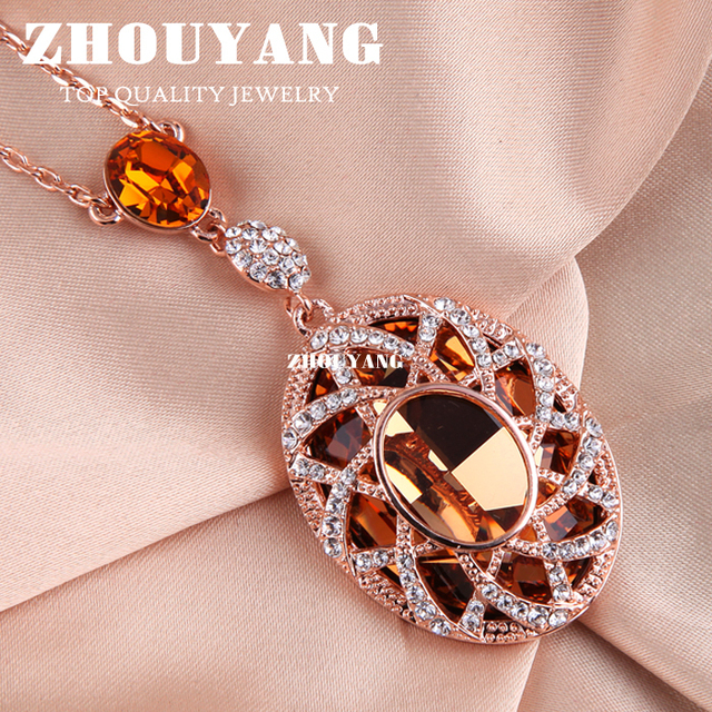 Top Quality ZYN004 Gold Love Necklace  Rose Gold Plated Fashion Pendant Jewelry Made with Austria Crystal  Wholesale