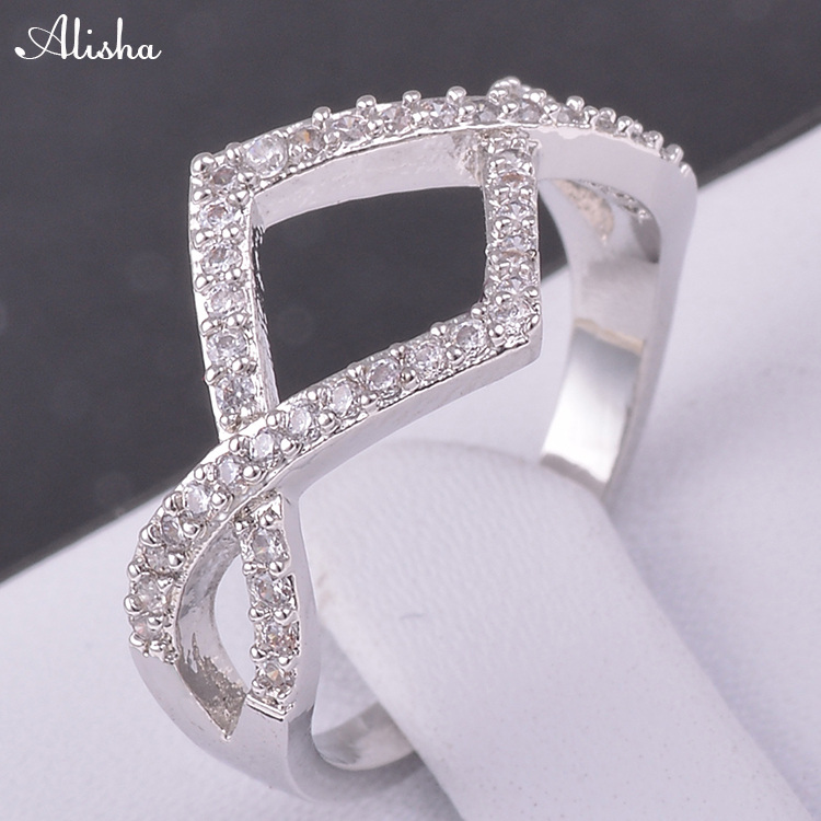 Fashion Jewelry Rings 18K Platinum Plated Micro Pave Clear AAA Swiss Cubic Zircon Classic Rings For Women(China (Mainland))