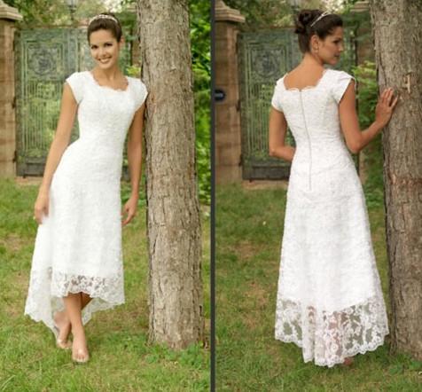 hot selling scoop tea length lace casual dress short