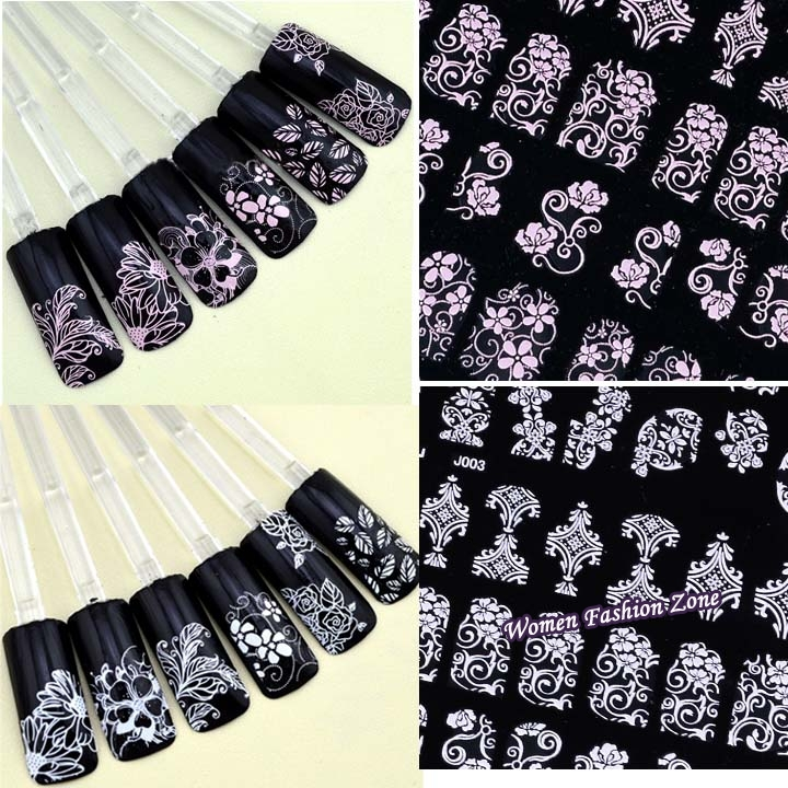 Cheap New 108 Pcs 3D Nail Stickers Tips Decal Fashion Flower Tip Decoration Sticks Nail Art Manicure Accessories nail foil 07047(China (Mainland))