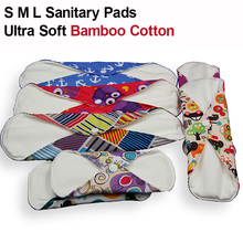 S M L Bamboo Cotton Mama Reusable Menstrual Cloth Sanitary Pads Napkin Washable Waterproof Panty Liners Women Feminine Hygiene(China (Mainland))