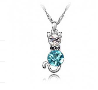Lovely Crystal Cat Necklace Silver Pendant Womens Fashion Animal Jewelry Cute Collares - cheap jewelry factory store