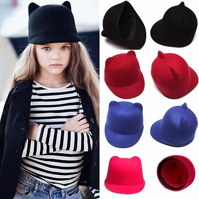 Hot Baby Girl Boys Kids Fedora Hat Winter Lovely Cat Ear Animal Bowler Warm Soft Cap<br><br>Aliexpress
