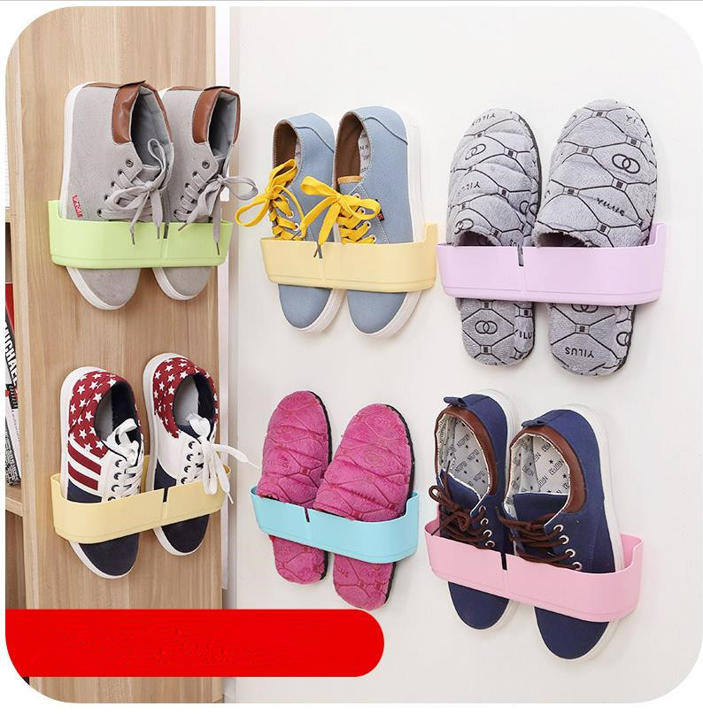 Fashion Creative Wall Hung Shoe Rack 5pieces/lot Hanger Store Shoes Hallway in Living Room Organizer Storage Holder 2016 Newest(China (Mainland))