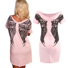 2016 New Vestidos Women Summer Dress Fashion Wings printing Casual V-Neck Sleeveless Lace Dress A-line Plus size