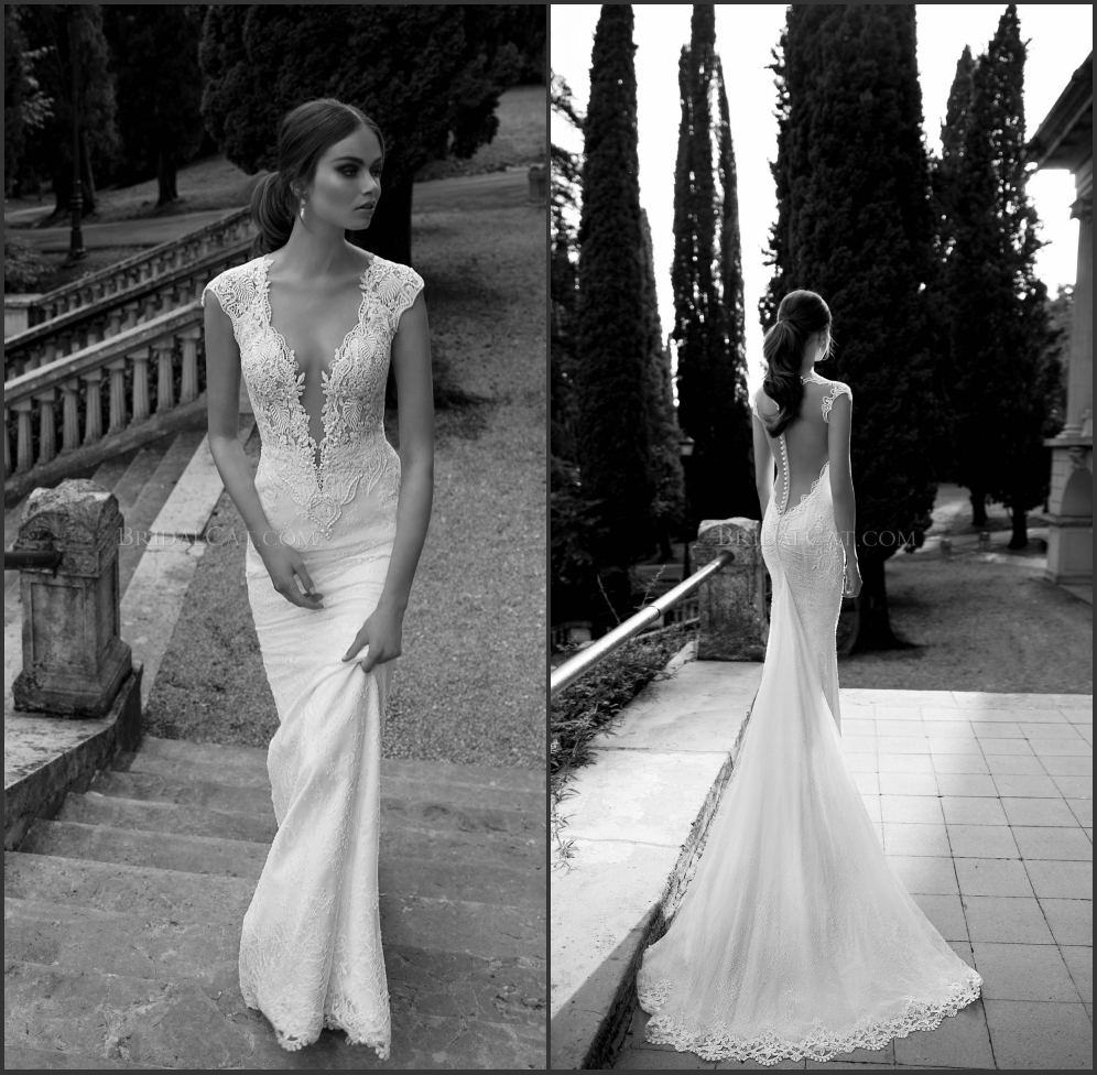 2014 berta bridal gown pearls lace bodice deep v neck for Lace wedding dress with pearls