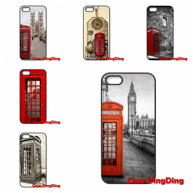 Hard PC Skin accessories Vintage London Telephone Box For iPhone 4 4S 5 5C SE 6 6S Plus Apple iPod Touch 4 5 6 Moto X1(China (Mainland))