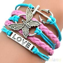 Vintage Handmade Multilayer Leather Butterfly Charm Chain Bracelet Bangle  1GVT(China (Mainland))