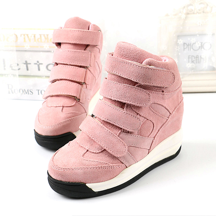 Autumn/Winter New Flat Platform Shoes Casual Shoes Velcro Elevator Nubuck Leather Cowhide Fashion Women's High-Top Wedges Shoes