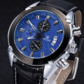 MEGIR Men Chronograph Quartz Water Resistant Watch Blue Dial Black Leather Slim Watches Multifunction Hot Item
