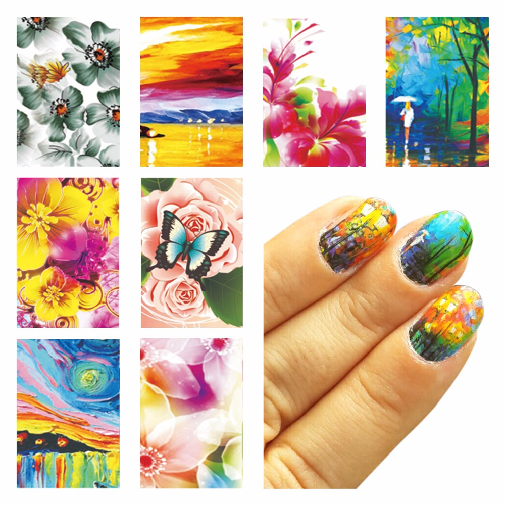 LCJ Oil Painting Design Water Decals Water Transfer Foils Nail Art Sticker Manicure Decorations Tools Sticker(China (Mainland))