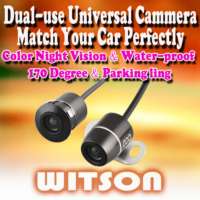 WITSON Dual-use Camera CCD Rear view Parking Color Car Reverse Backup Waterproof wide angle--Promotion! - Zhuhai Witsons Industrial Store store