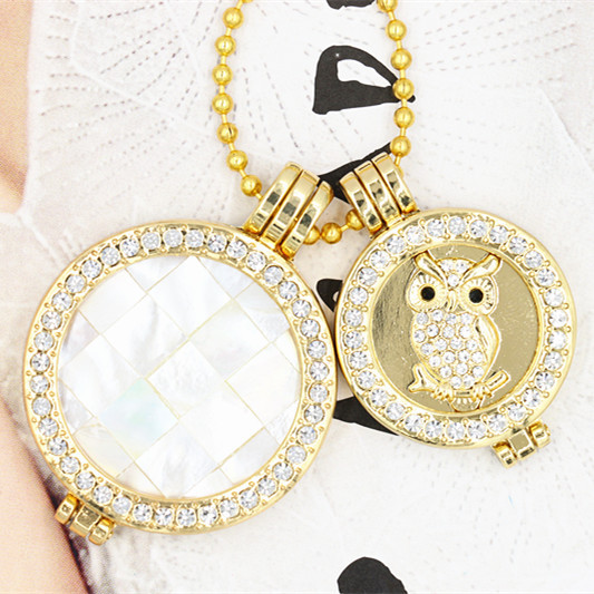 Free shipping large shell and small owl coin necklace set ,double coin mi moneda necklace 1411#<br><br>Aliexpress