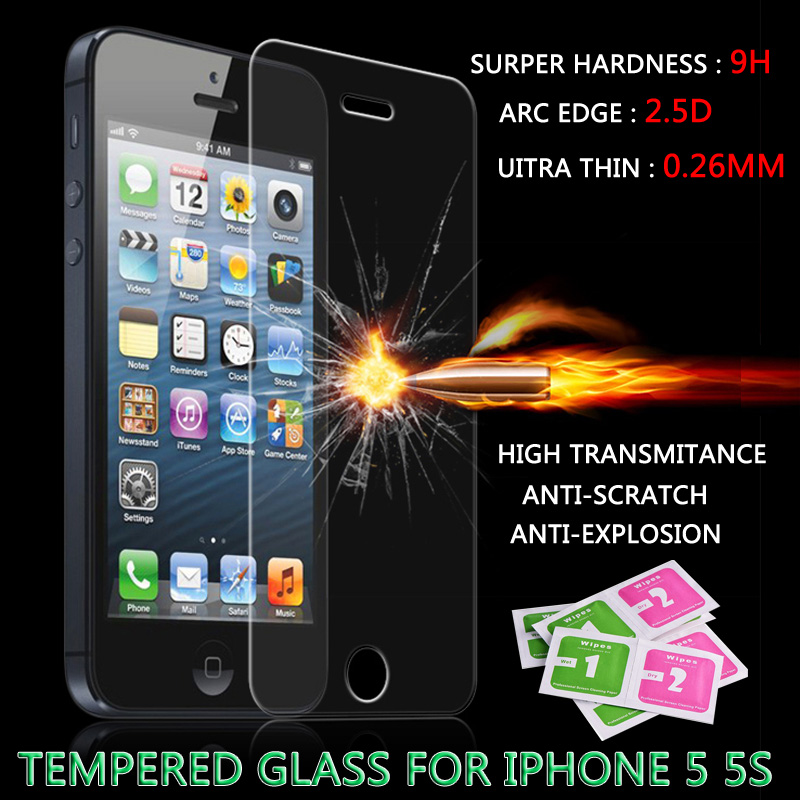 For iPhone 5s glass 0.26 mm 9H for iphone4 4s 5 5s 6 6s 6 puls tempered glass film on the iPhone 5s screen protector HD(China (Mainland))