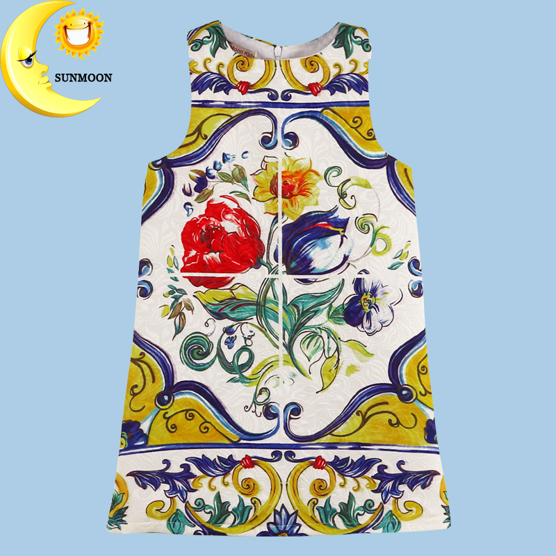 Toddler girls dresses summer 2016 baby kids clothes princess children dress for girl clothes sleeveless flower party dress 2-10Y(China (Mainland))