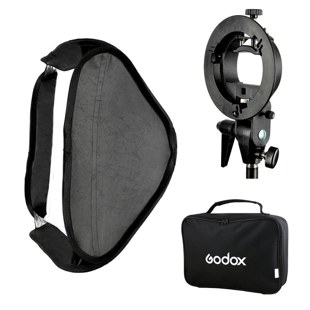 Godox S-Type Flash Speedlite Bracket Mount Holder + 60 x 60cm Softbox for Studio Photography(China (Mainland))