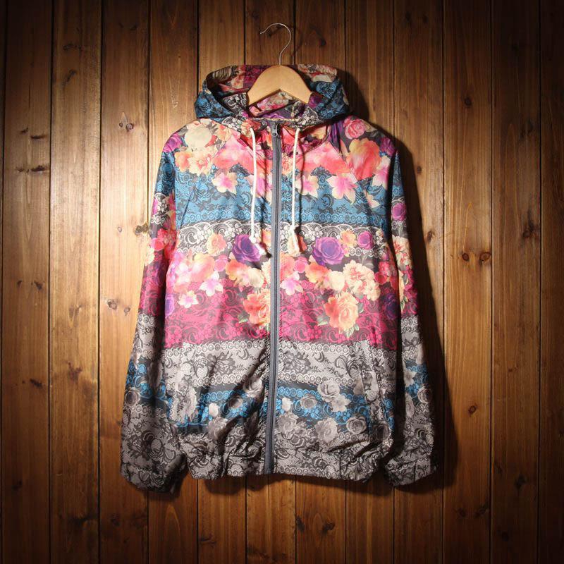 New spring and summer men's vintage floral thin jacket men casual hooded windbreaker baseball man coat jaqueta masculina(China (Mainland))
