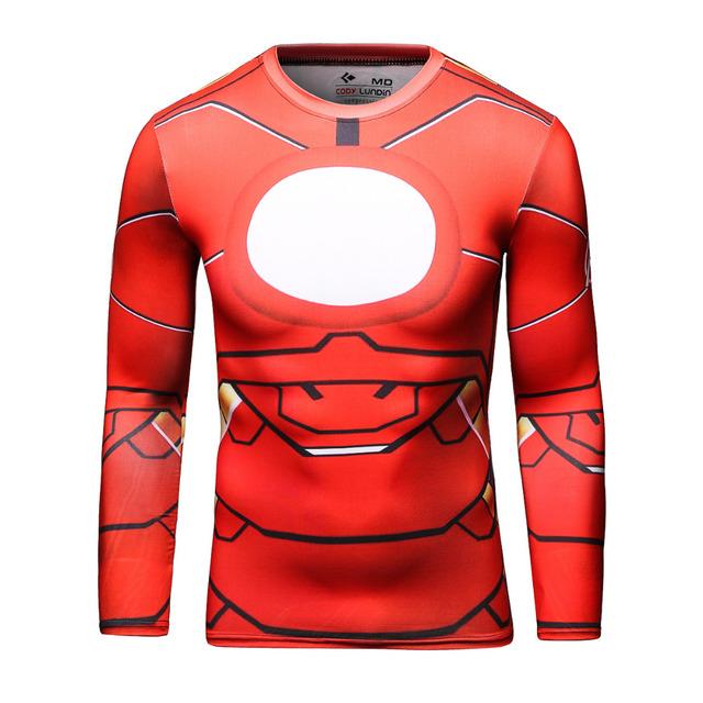 Мужчин Marvel Comics Super Heroes Железный Человек Футболка Костюм Фитнес Спортивная Одежда Мужчины Crossfit Топы Футболку