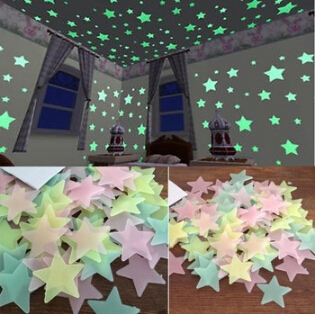 2015 New 100 pcs/ a bag Glow In The Dark Plastic Stars Stickers Baby Kids Ceiling Wall Room Nursery Room Decal Baby Kids Gift(China (Mainland))