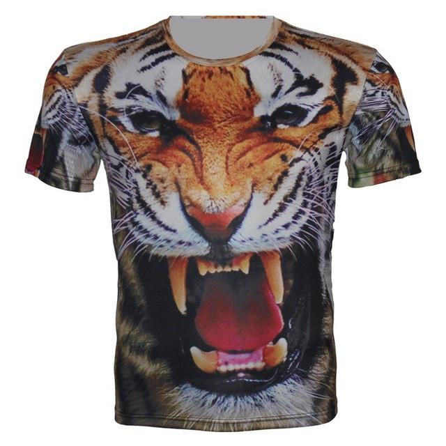 2016 летний новый детей 3D животных майка мальчик девочка спорт футболка тигр волк ...