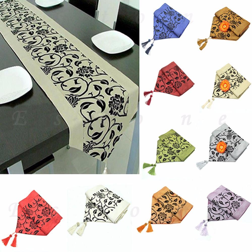 Wedding Decor Raised Flower Blossom Flocked Damask Table Runner Imitated silk fabric Home Textile Table Runner Home Decor(China (Mainland))