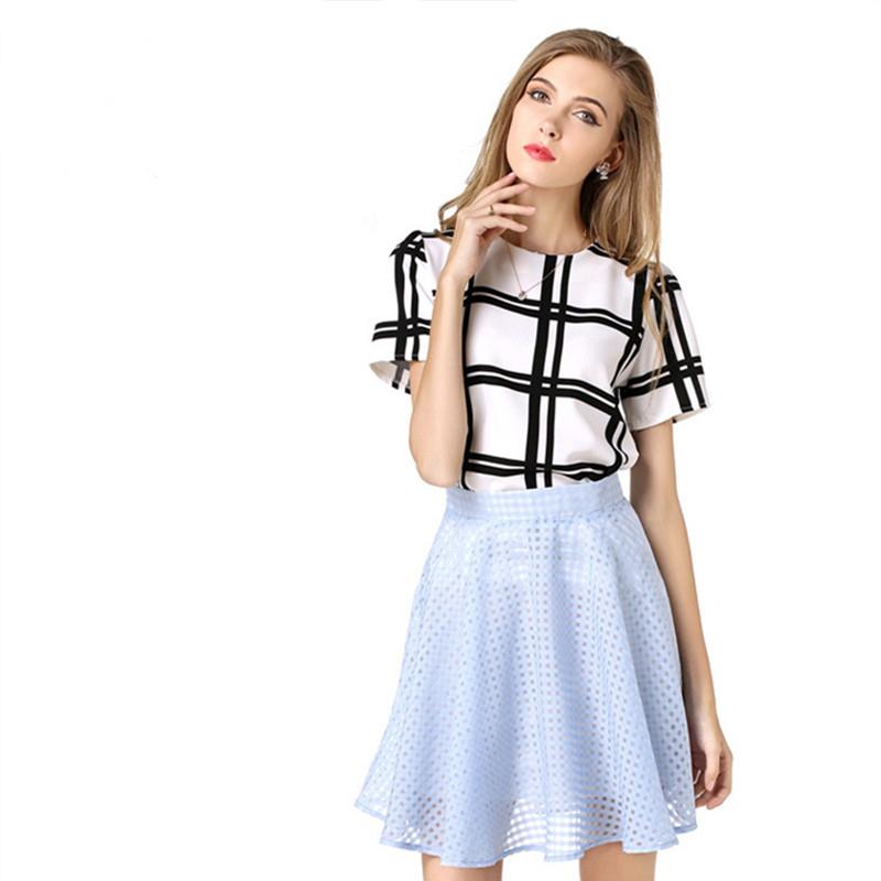 2016 Hot Sales Fashon Elegant Summer Chiffon Blouse Vintage Black White Short Sleeve font b Plaid