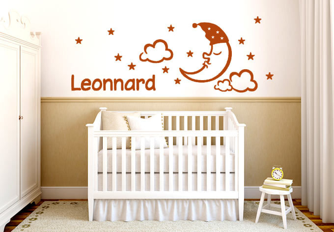 Baby Nursery Wall Stickers A Sleeping Moon With Stars And Clouds Name Customized Wall Art Decals(China (Mainland))
