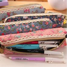 Flower Floral Lace Canvas Zipper Pencil Case Fabric Cute Kawaii Dot  Pencil Bag for Kids Girls School Supplies Free shipping 690