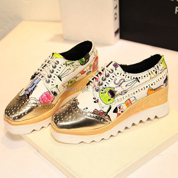 Sping autumn platform wedge doodle printing/solid lace-up british style female casual shoes brogue women oxfords pumps #R8 - Lemon or orange store