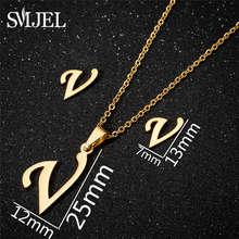 SMJEL acier inoxydable lettres arabes collier femmes bijoux 26 lettres Alphabet colliers nom Initial or bijoux cadeaux filles(China)
