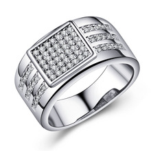 Buy silver plated men finger Rings wedding gift square large jewelry micro paved white clear stone Cubic Zircon Engagement Ring for $3.16 in AliExpress store