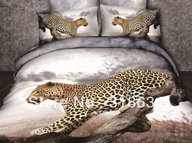 4 or 5Piece Manly Wild Leopard Print Duvet Cover and Sheet Bedding Comforter Sets 100% Cotton Imitated Oil Painting-Fast Ship(China (Mainland))