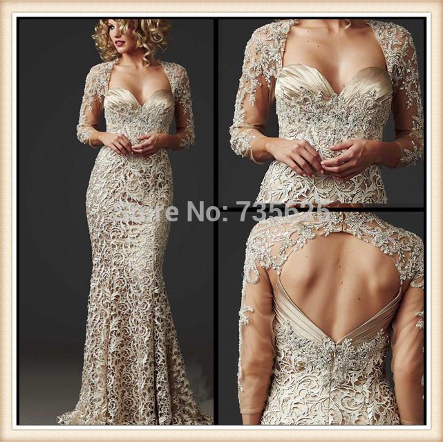 2015 New Hot Elegant Champagne Sweetheart Cap Sleeve Long Pleat Backless Floor-Length Evening Dress Mother Dresses Gowns - Hong Kong Jolie Co., Ltd. store