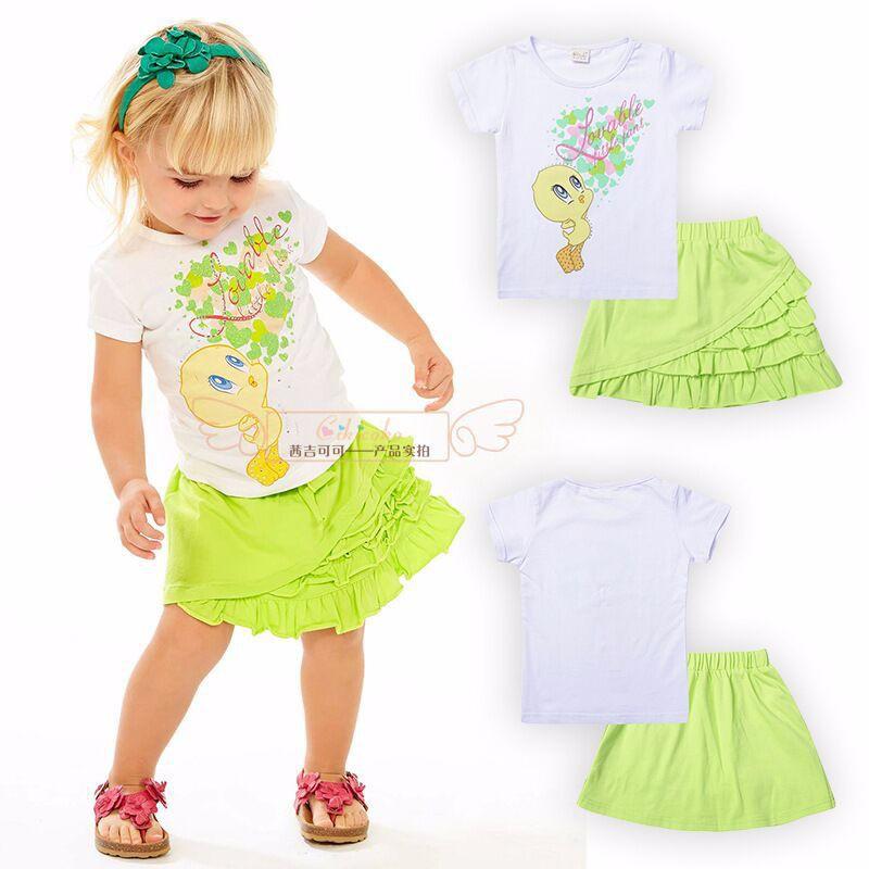 High Qulity! 2015 Girls Fashion Summer Set Little Duck Printed T-Shirt+Tutu Skirt 2Pcs Set Fluorescent green(China (Mainland))