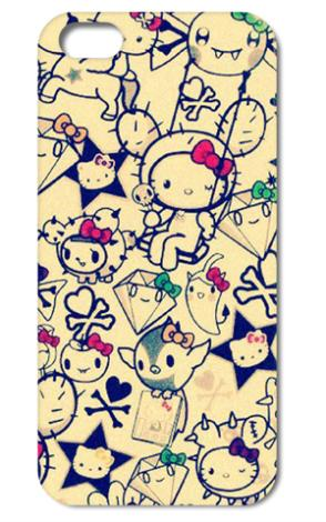 ShenYu Retro Hello Kitty style hard back phone cases black cover case for Iphone 4 4s 5 5S FREE SHIPPING 002(China (Mainland))