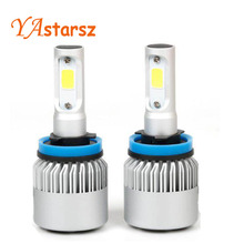 Buy 2Pcs H4 LED H7 H11 9005 9006 HB4 COB Chip S2 Auto Car Headlight 72W 8000LM High Low Beam One Automobiles Lamp 6500K 12V for $19.59 in AliExpress store