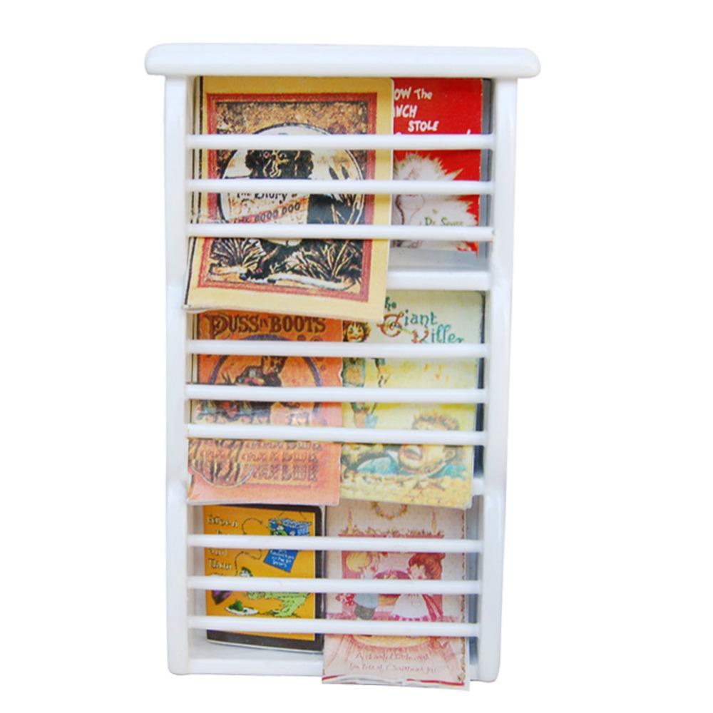 New white modern realistic Bookshelf Miniature Dollhouse Furniture toys accessories magazine for Doll House(China (Mainland))