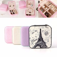 Fashion Cosmetic Leather Jewelry Box Necklace Ring Storage Case Organizer Display for traveling(China (Mainland))