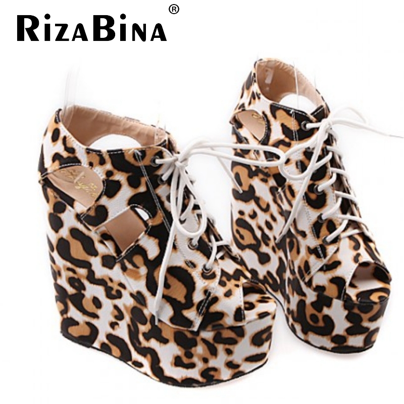 women wedge leopard cross strap platform high heel sandals sexy fashion ladies heeled footwear heels shoes size 30-39 P16758<br><br>Aliexpress